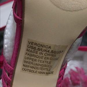 Shoe Dazzle Shoes - Fuchsia strappy flower stilettos (Shoedazzle)